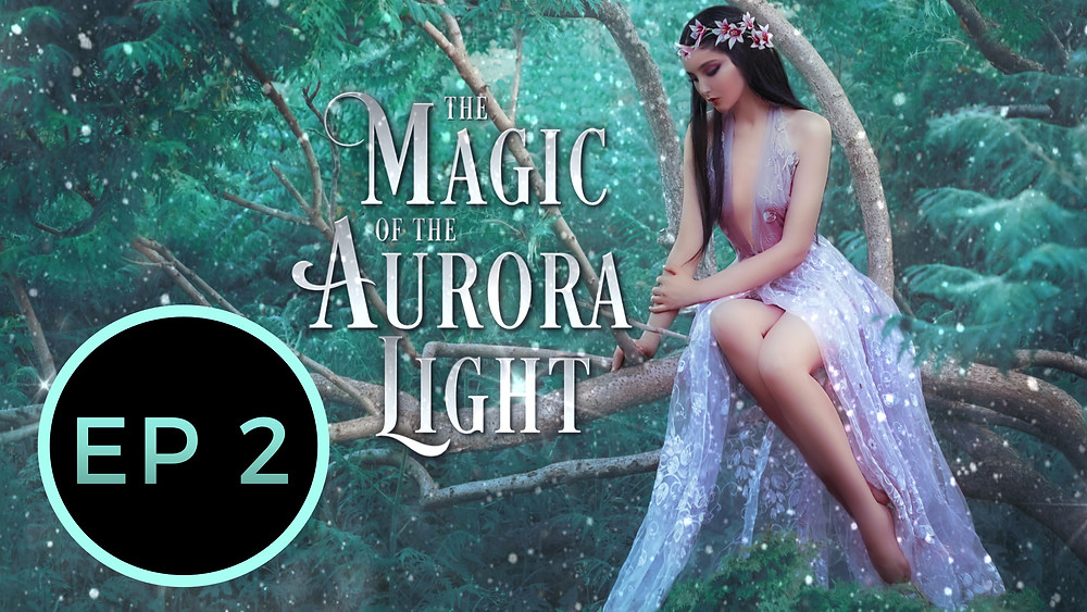 reverse harem paranormal fantasy romance free audiobook, episode 2, beautiful girl in lilic fairy dress sitting on tree with garland on her head, reverse harem fantasy romance cover, green forest woods and fairy girl