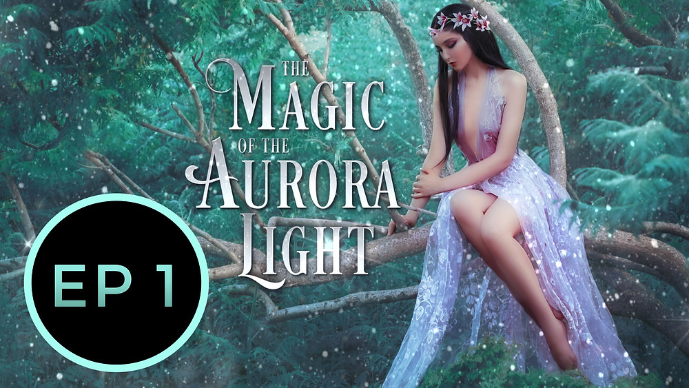 reverse harem paranormal fantasy romance free audiobook, episode 1, beautiful girl in lilic fairy dress sitting on tree with garland on her head, reverse harem fantasy romance cover, green forest woods and fairy girl