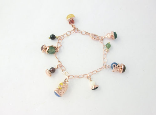 PINK-PLATED BRACELET WITH CHARMS AND NATURAL STONES