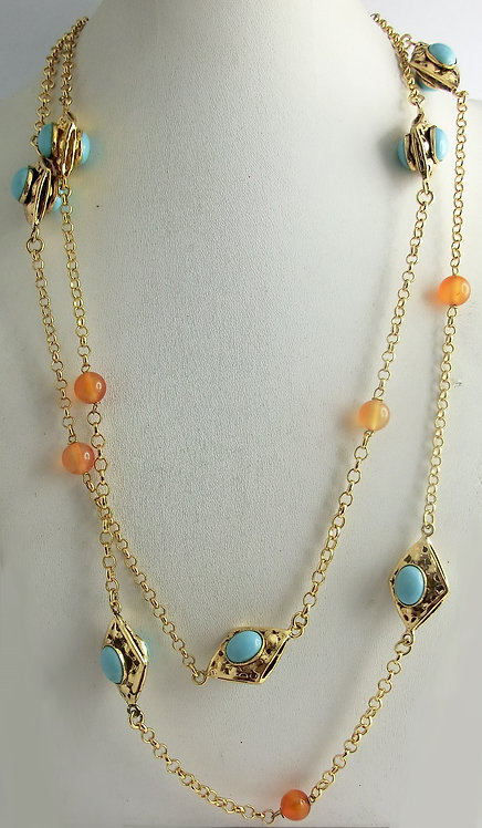 LONG NECKLACE WITH ELEMENTS AND NATURAL STONES