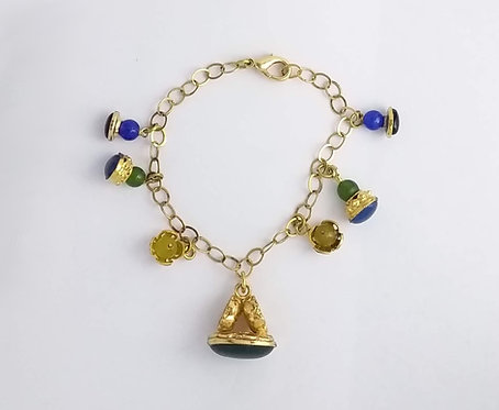BRACELET WITH CHARMS AND NATURAL STONES