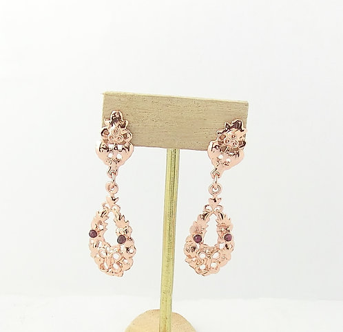 PINK-PLATED EARRINGS WITH NATURAL STONES