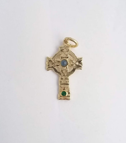 CROSS PENDANT WITH NATURAL STONES