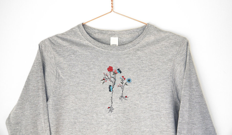 Embroidered Winter Flowers top with Roses and Butterflies