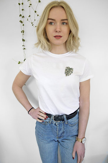 Embroidered Abstract Monstera Tee