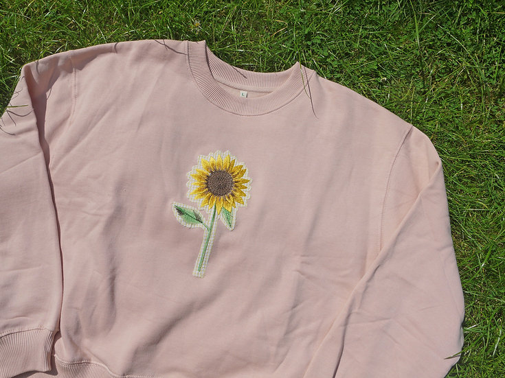 Gingham Sunflower Jumper in Misty Pink