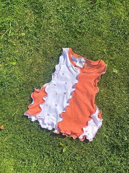 Confetti Re-Worked Crop Top in Orange & White (S/10)