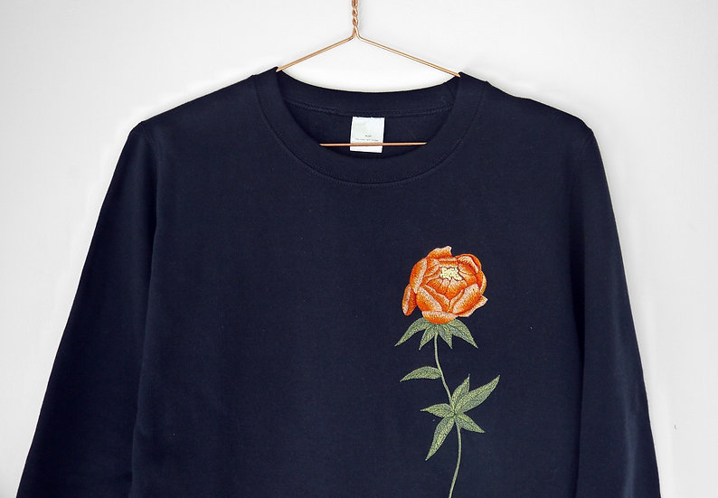Oversized Embroidered Peony Jumper, Orange Flower Navy Sweatshirt