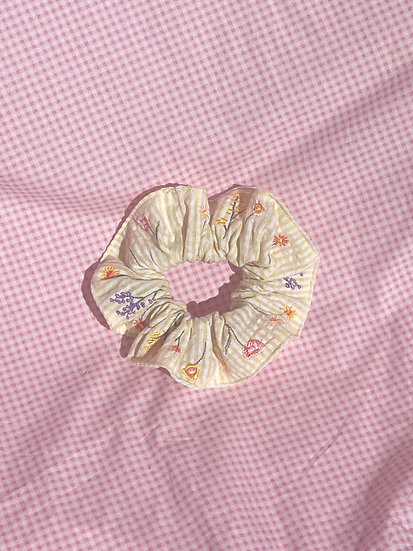 Yellow Gingham Floral Embroidered Scrunchie
