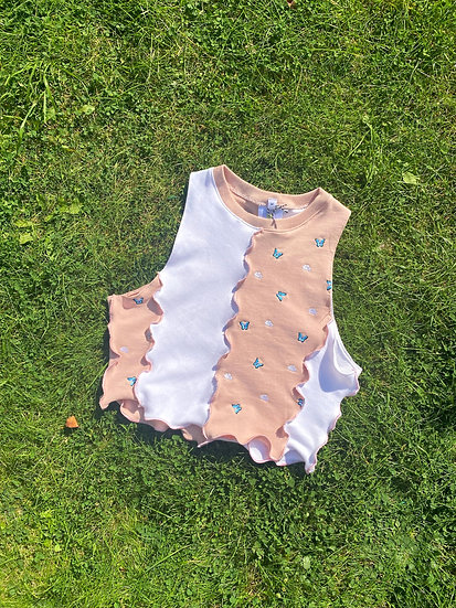 Confetti Re-Worked Crop Top in Pink & White (M/10-12)