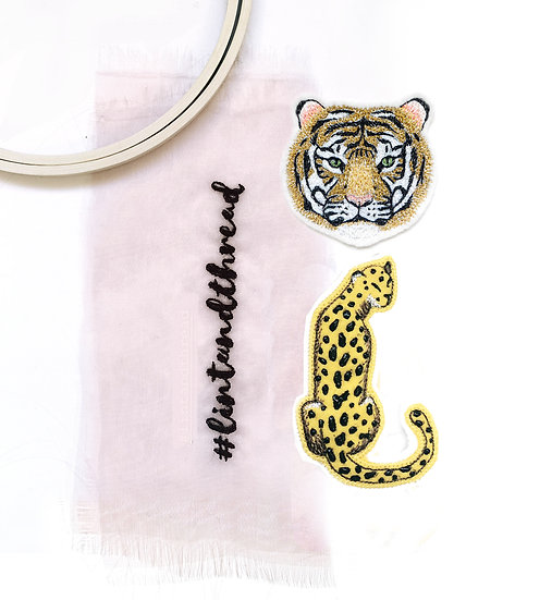 Embroidered Tiger and Cheetah Patch, Set of Two
