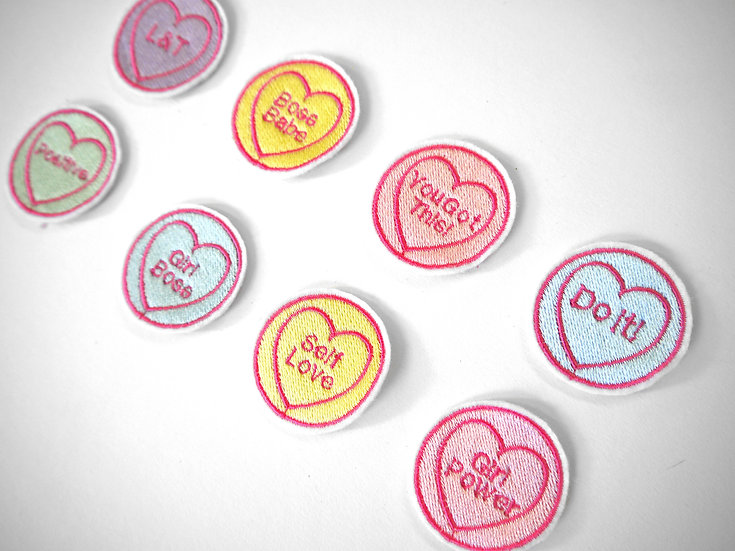 Set of 5 Personalised Love Heart Stick-On Patches (one of each colour)