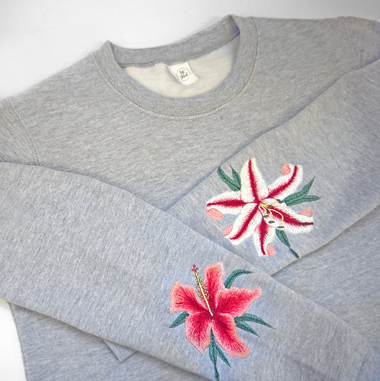 Oversized Statement Embroidered Lilly & Hibiscus Jumper