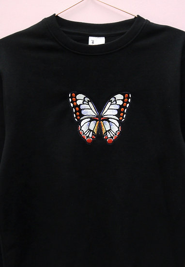 Oversized Black Embroidered Butterfly Jumper