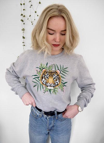 Oversized Grey Tropic Leaf Embroidered Tiger Jumper