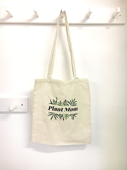 Embroidered Plant Mom/Killer Tote Bag