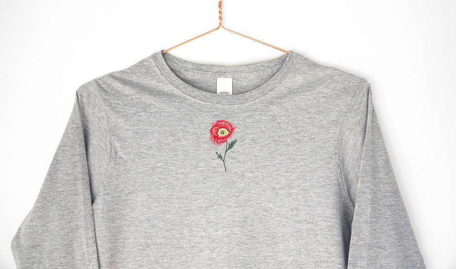 Grey Embroidered Poppy Long Sleeved Top