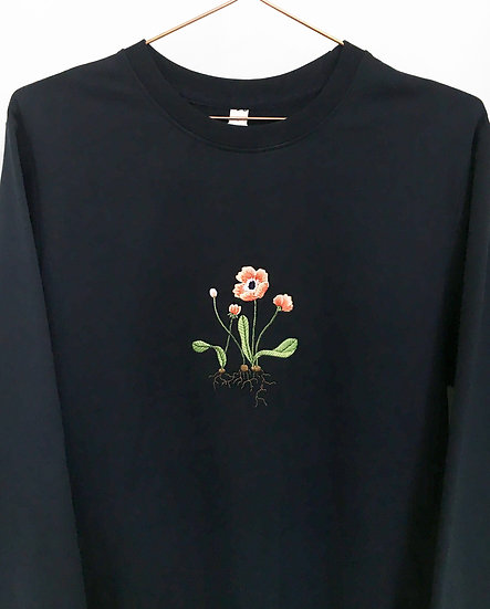Embroidered Poppy with Roots Jumper (Oversized)