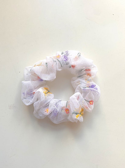 Embroidered Tulle Scrunchie
