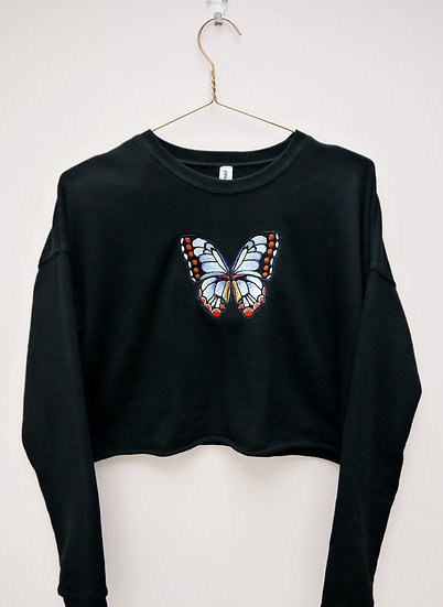 Cropped Black Embroidered Butterfly Jumper