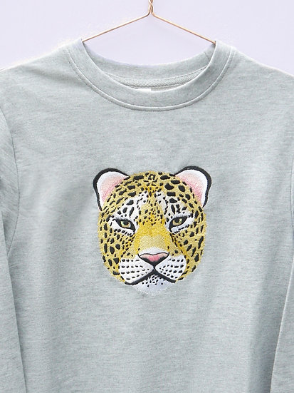Grey Embroidered Leopard Jumper (Oversized)