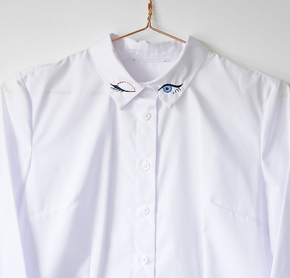 Embroidered White Shirt with Statement Winking Eyes Collar