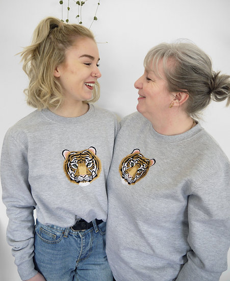 Oversized Grey Embroidered Tiger Jumper