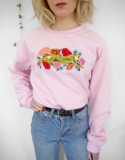Recycled Pink Jumper Embroidered with Colourful Flowers and Cheetah (Oversized)