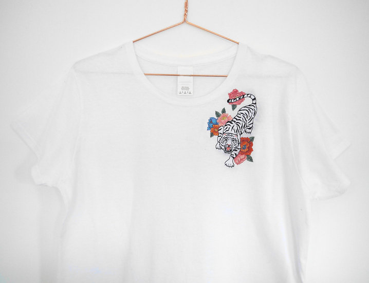 Embroidered Floral Tiger Tee