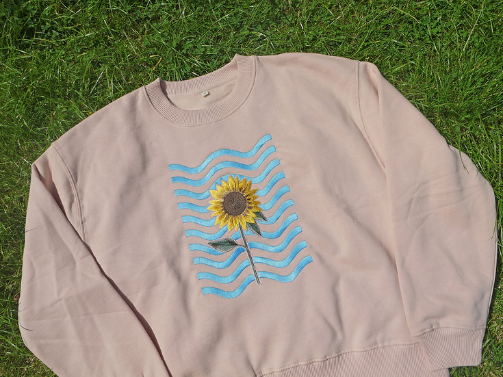 Sunflower Waves Jumper in Misty Pink