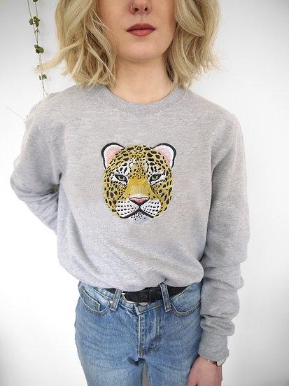 Oversized Grey Embroidered Leopard Jumper
