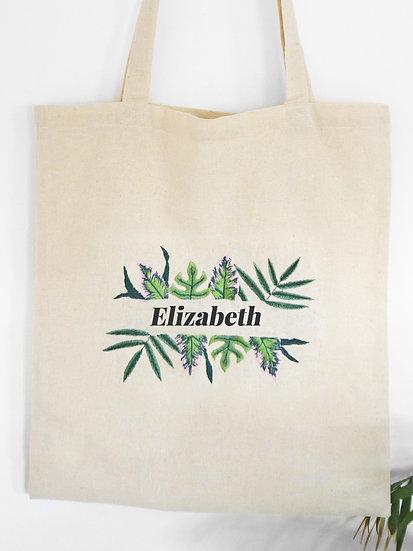 Personalised Tropical Leaf Tote Bag