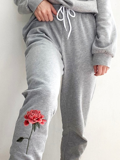 Embroidered Chrysanthemum Joggers