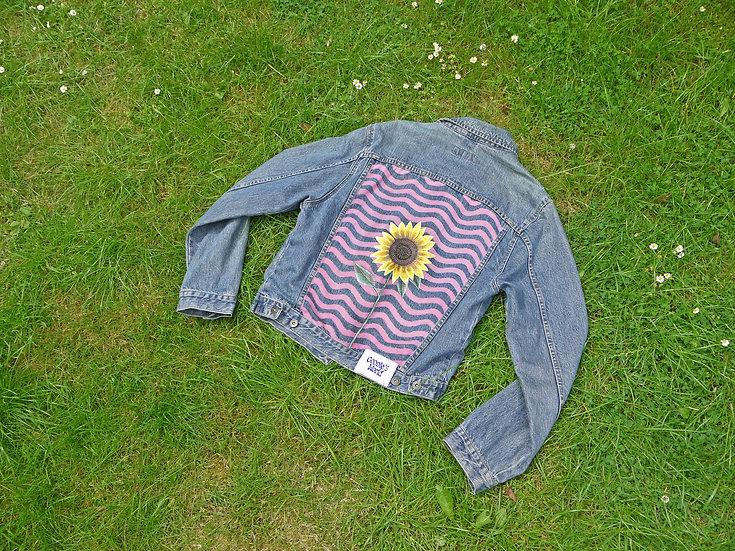 Reworked Denim Jacket with Sunflower & Waves