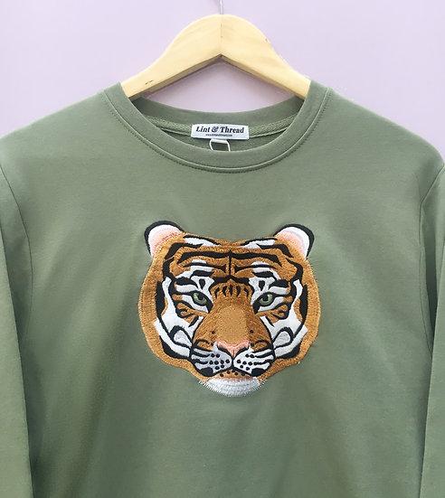 Olive Green Embroidered Tiger Jumper (Oversized)