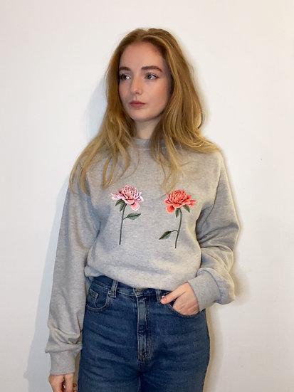 Oversized Embroidered Chrysanthemum Grey Jumper