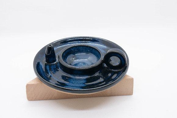 Bougeoir/porte-encens bleu