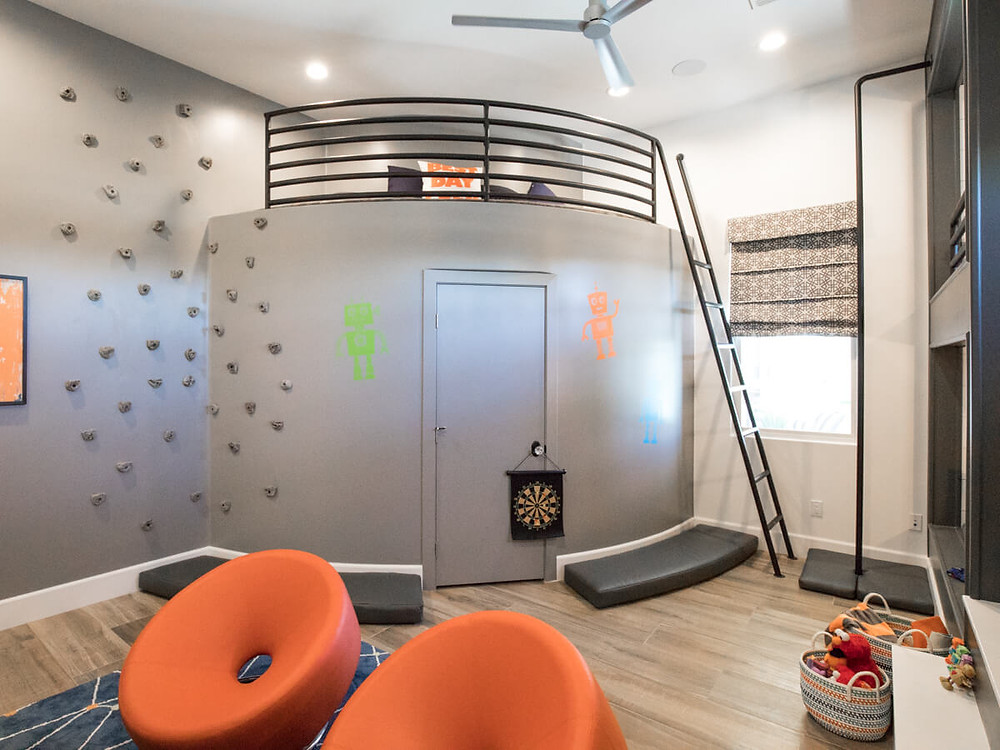 kids loft with climbing wall