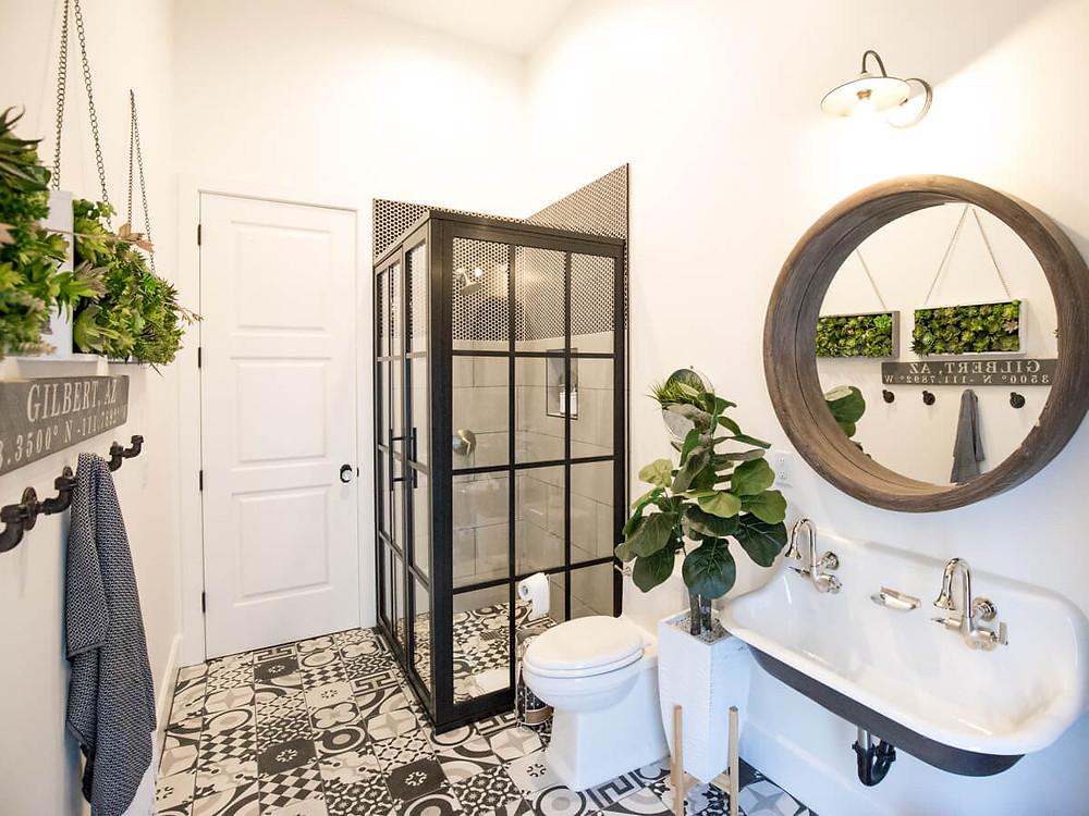 black framed shower modern farmhouse