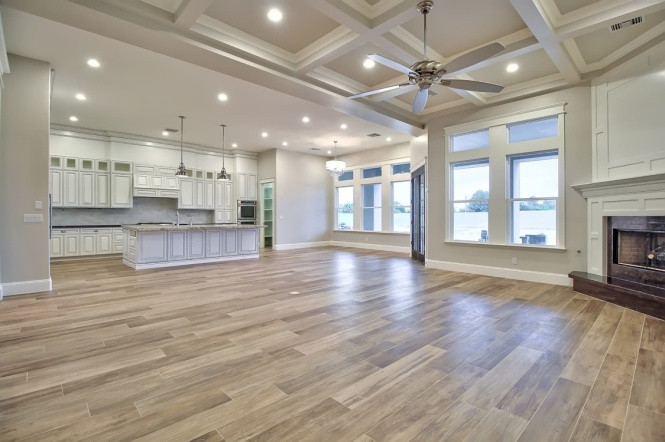 Many custom home designs include an open floor plan for entertaining.