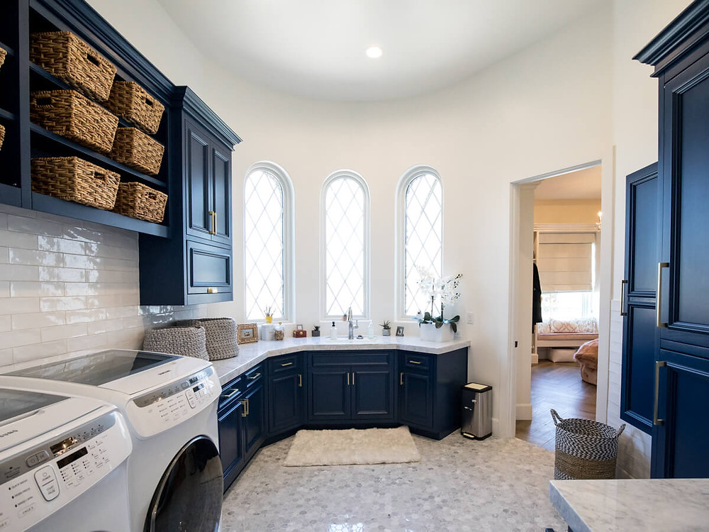 blue cabinet laundry room