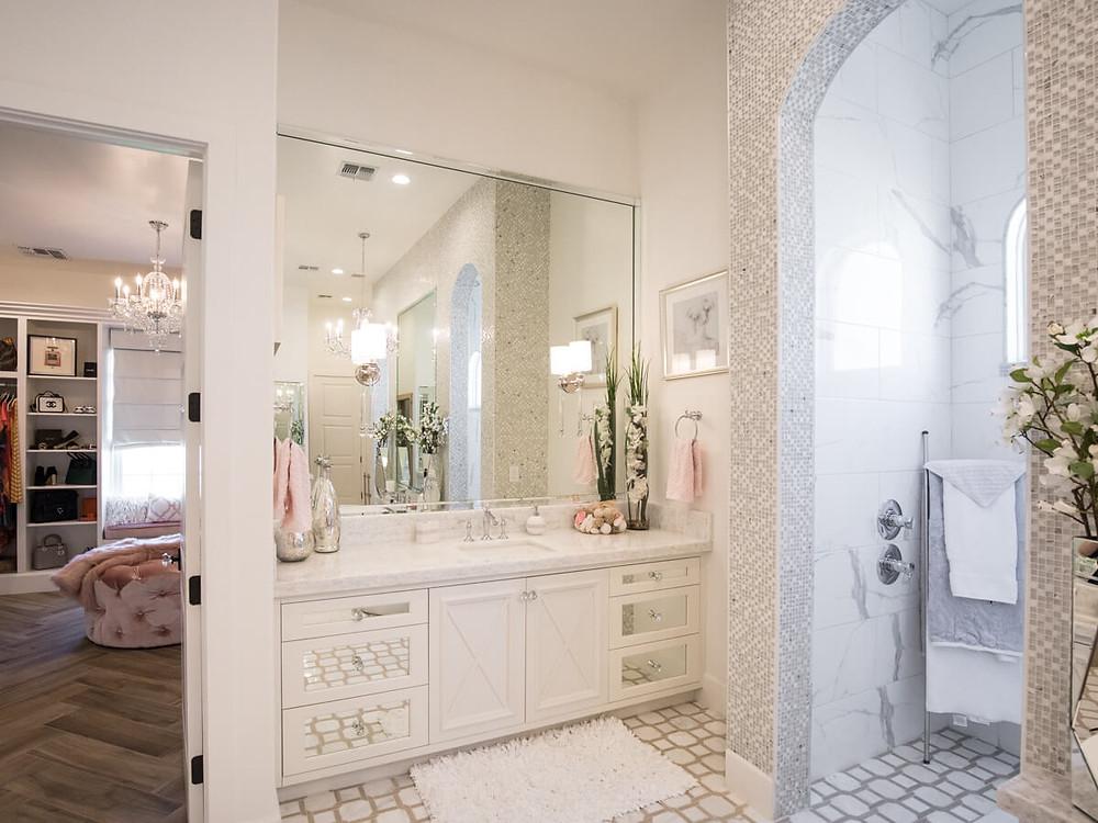 elegant master bath white cabinets