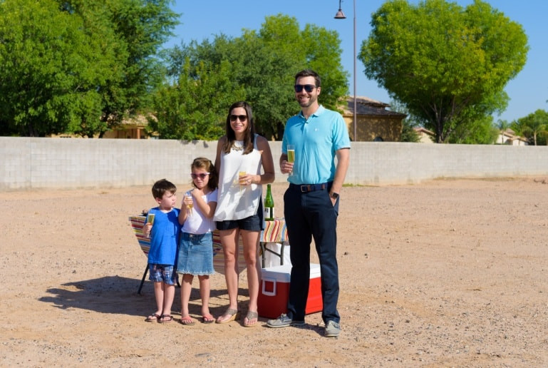 The Stavros family enjoys their custom home ground breaking ceremony.