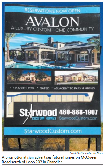 Starwood Custom Homes Promotional Sign Featured in SanTan Sun News