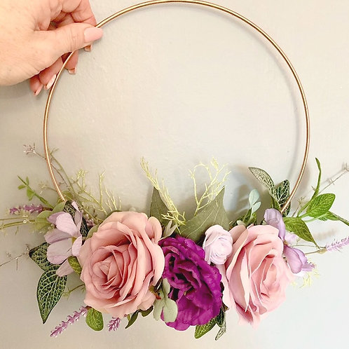 Dusky pink and purple metal floral wreath