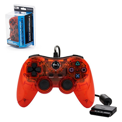 PS2 Wired Controller - Clear Red (TTX)