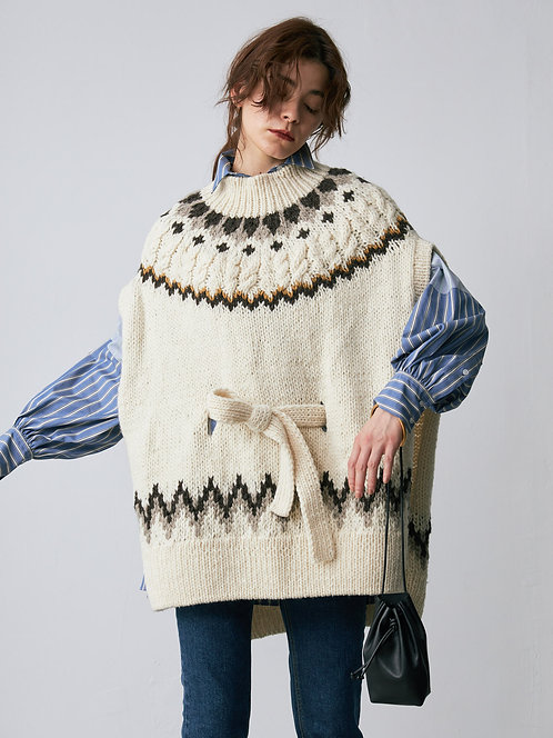 Hand knitting Nordic poncho
