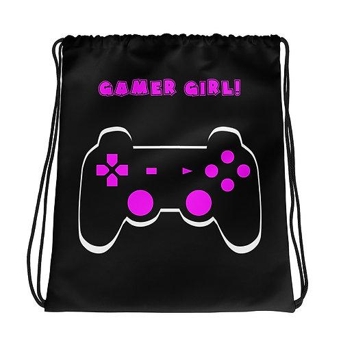 Gamer Girl Drawstring Bag-Black