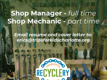 The Charlotte Re-Cyclery is Hiring!