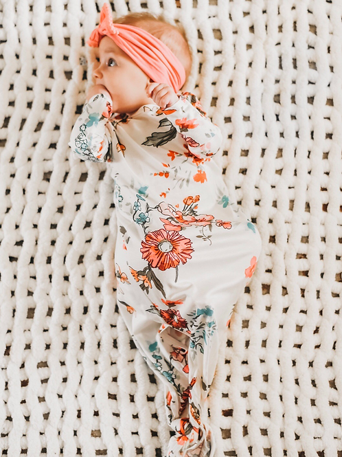 Watercolor Floral Knotted Gown